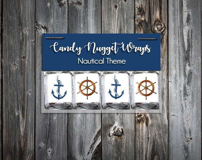 60 Nautical Ahoy It's A Boy Shower Candy Wraps Favors. Includes printing.