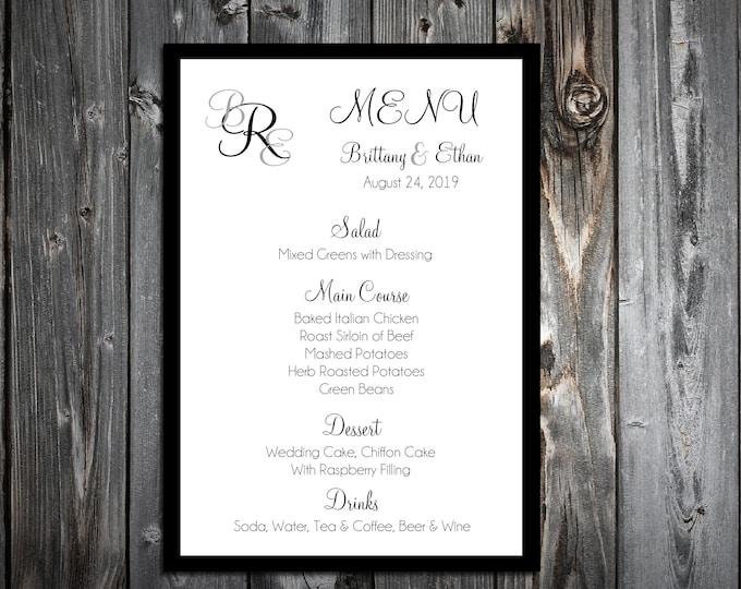 100 Wedding Menu Cards - Monogram - Printed - Personalized - Monogrammed Dinner Menus