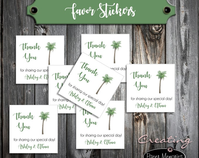 100 Wedding Favor Stickers - Palm Tree - Printed - Personalized - Square 2x2 Thank You Favors