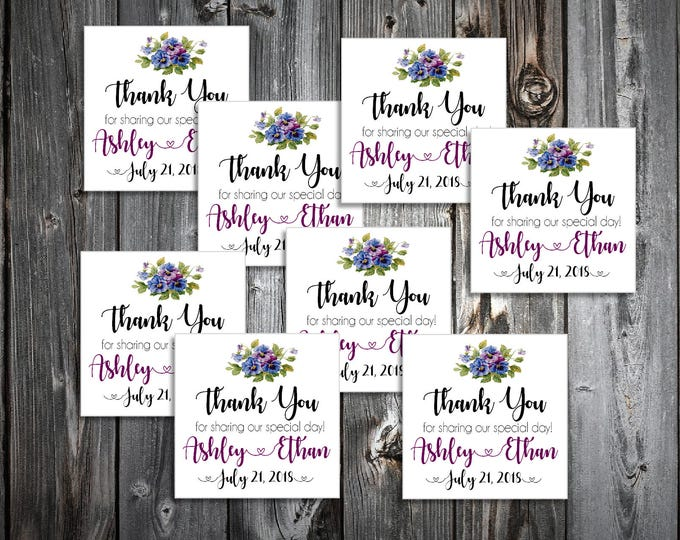 100 Pansies Flowers Wedding Favor Stickers. Personalized printed square labels are 2 inches by 2 inches.