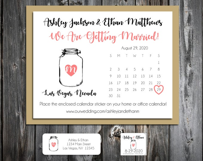 50 Save The Dates - Mason Jar - Invitations - Personalized - Printed - Rustic - Country - Barn