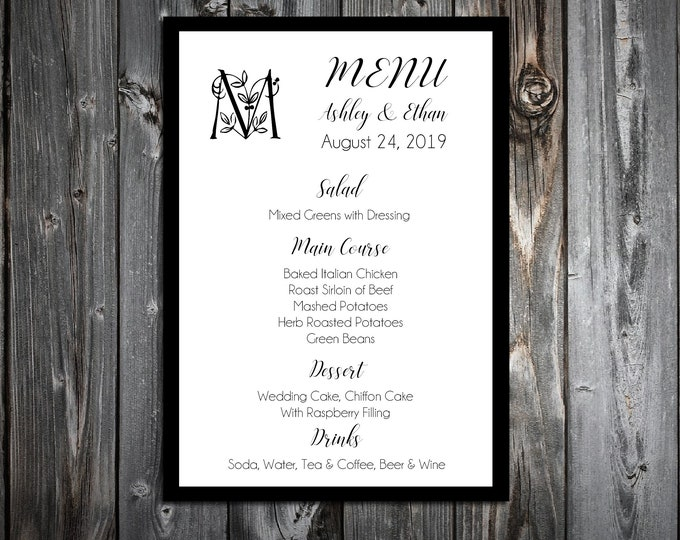 100 Wedding Menu Cards - Monogram Floral Letter - Printed - Personalized - Dinner Menus