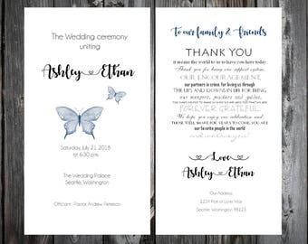 Butterfly Wedding Ceremony Programs - Price includes printing
