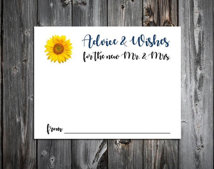 100 Wedding Advice and Wishes - Sunflower - Personalized - Printed - Wedding Favors