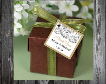 Lace and Burlap Rustic Theme 100 Printed and Personalized Favor Tags. Beach Wedding favors