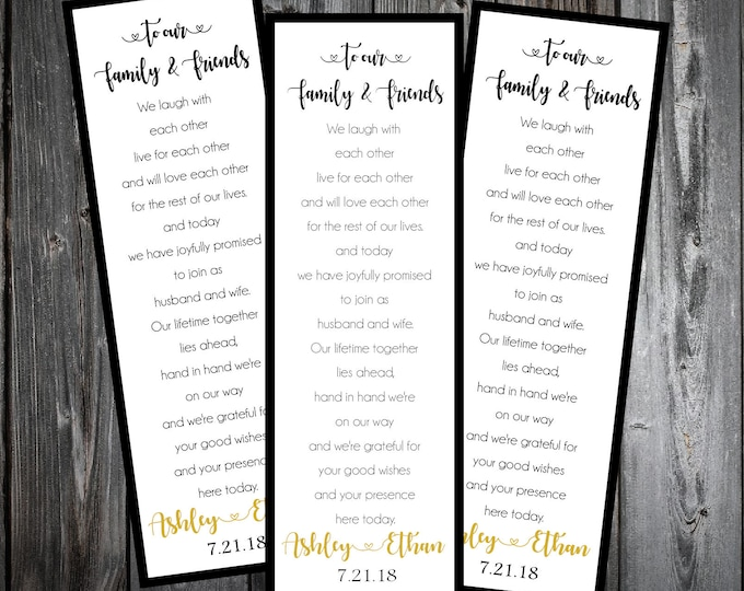 Black and Gold 100 Wedding personalized and printed Bookmarks Favor
