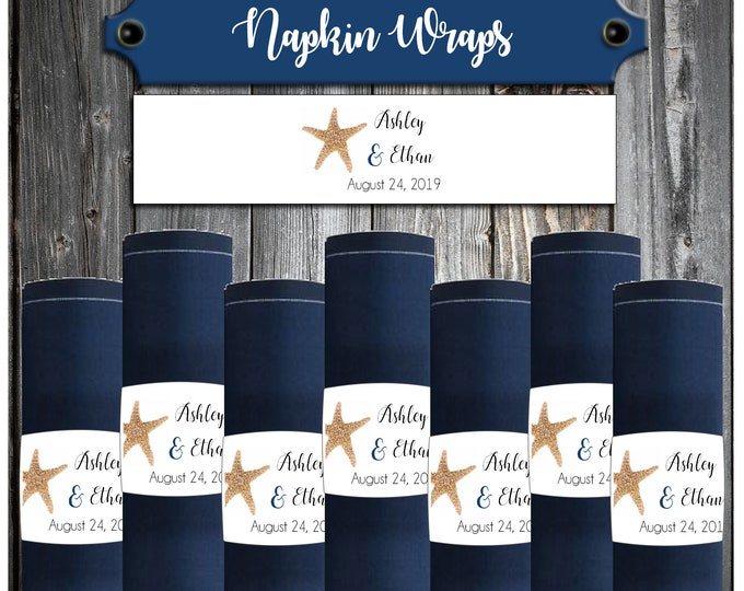 100 Wedding Napkin Wraps - Cuffs- Rings - Beach Starfish - Wedding Favors - Printed - Personalized