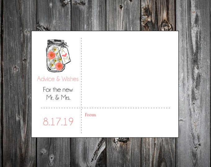 100 Mason Jar with White and Coral Daisies Advice and Wishes.  Wedding Favors