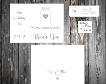50 Mason Jar Wedding Thank You Notes