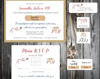 25 Nursing RN Graduation invitations - includes personalization, printing, calendar stickers, envelope seals and return address labels