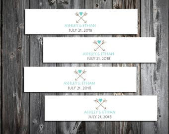 100 Arrow Wedding Napkin Ring Cuffs Wraps. Personalized Favors - monogrammed