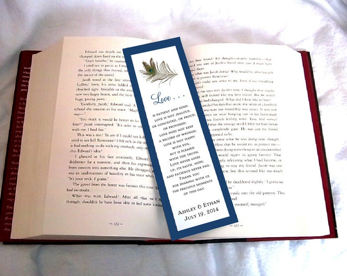 100 Peacock Feathers Wedding Bookmarks Favor