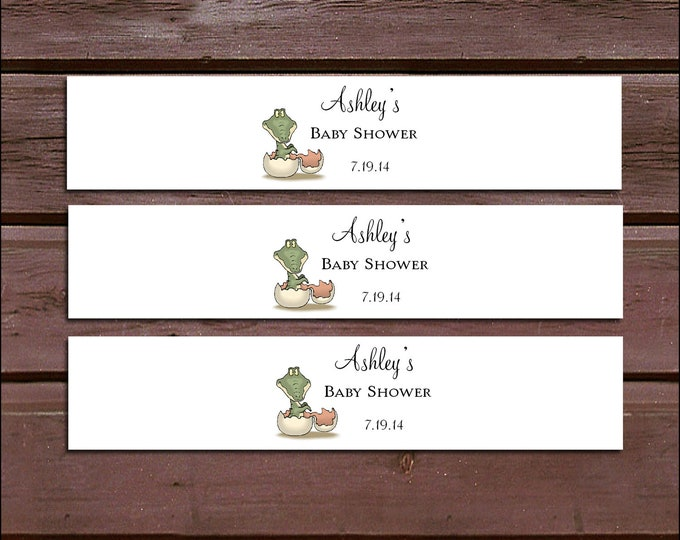 25 DINOSAUR Baby Shower Invitation Belly Bands Wraps.  Includes personalization and  printing