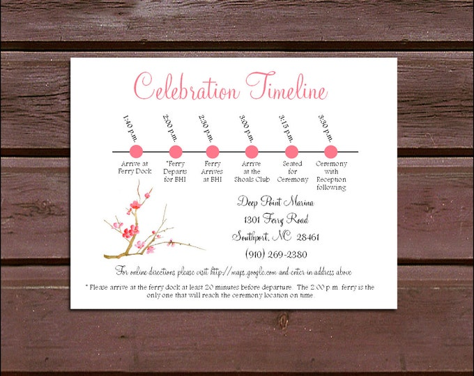 100 Cherry Blossom Timeline to include with your Wedding Invitations. Includes printing
