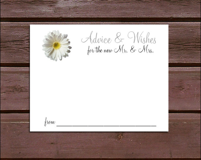 100 White Daisy Advice and Wishes.  Wedding Favors