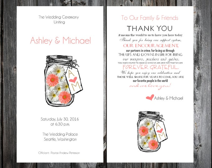 100 Mason Jar with White and Coral Daisies Wedding Programs Wedding Ceremony Personalized and Printed Programs