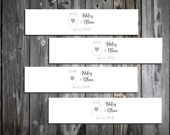 100 Mason Jar Wedding Napkin Ring Cuffs Wraps. Personalized Favors