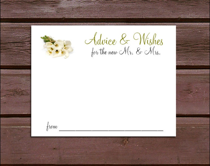 100 Calla Lily Advice and Wishes.  Wedding Favors