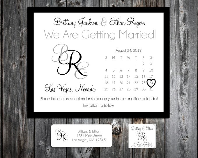 50 Wedding Save the Date Cards - Monogram - Printed - Personalized Monogrammed Save the Dates Invitations
