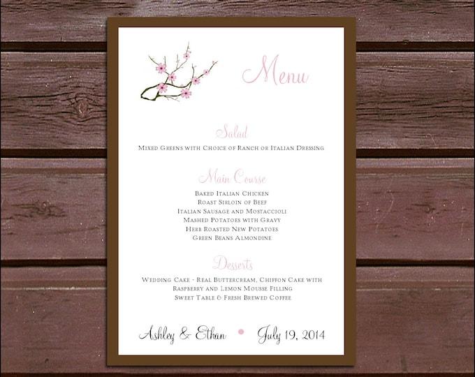 100 Cherry Blossoms Pink Wedding Menu Cards - Dinner Menus