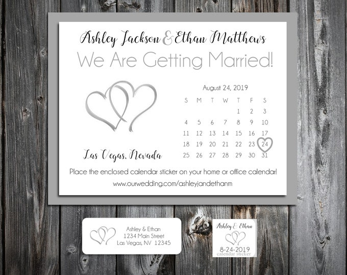 50 Wedding Save the Date Cards - Double Hearts - Printed - Personalized Save the Dates Invitations