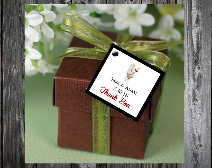 Baseball Heart 100 Printed and Personalized Favor Tags. Beach Wedding favors