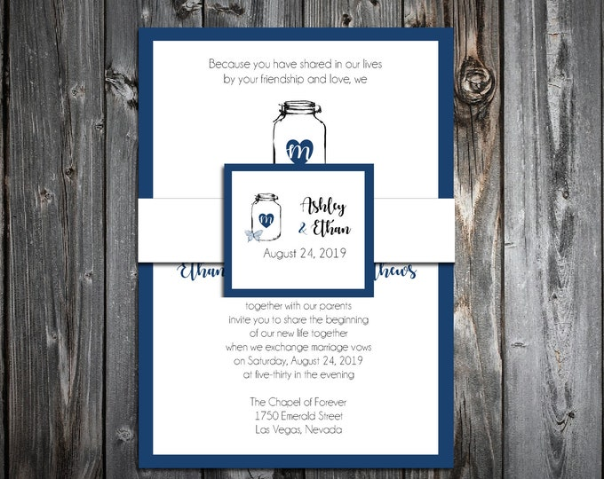 100 Wedding Invitations Belly Bands with Tags - Mason Jar with Butterfly - Printed - Personalized