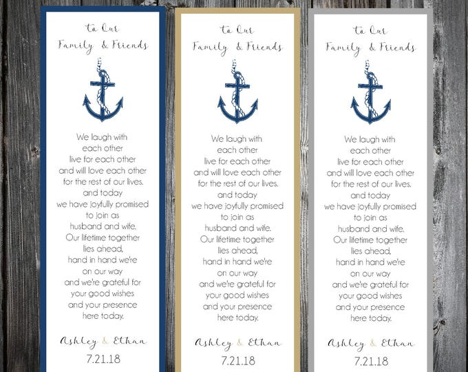 100 Nautical Beach Anchor Wedding Bookmarks Favor