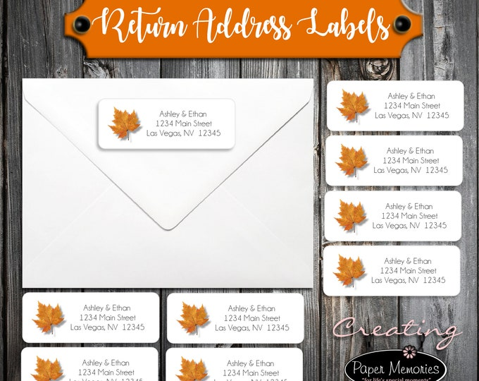 100 Fall Leaf Wedding Address Labels. Personalized self stick label - Fall In Love