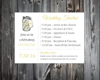 Mason Jar with Daisies 100 Personalized and Printed Timelines. Wedding Invitations Inserts.  Ceremony Reception Schedule.