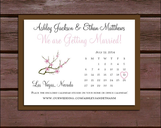 Cherry Blossoms Pink Wedding Save the Date Cards Invitations