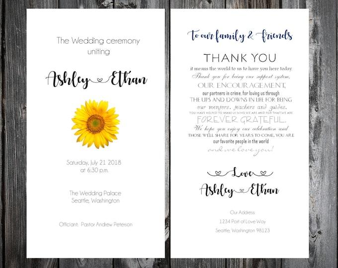 100 Wedding Programs - Sunflower - Printed - Personalized