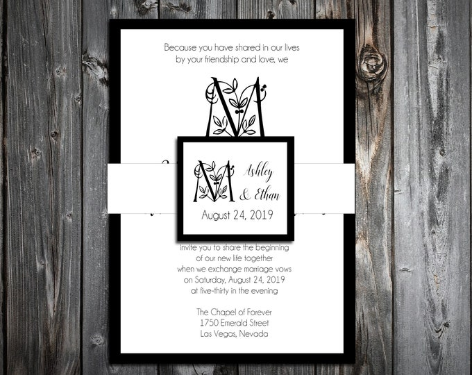 100 Wedding Invitations Belly Bands with Tags Wraps - Monogram Floral Letter - Printed - Personalized