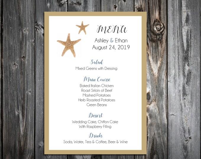 100 Wedding Menu Cards - Beach Starfish - Printed - Personalized - Dinner Menus
