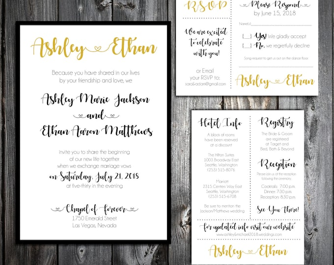 Black and Gold Wedding Invitations, RSVP's, Reception Insert w/ FREE Calendar Stickers - Printing included