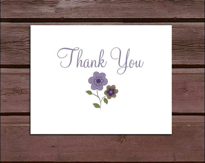 25 PURPLE & BROWN DAISIES Baby Shower Thank You Notes. Price includes printing.