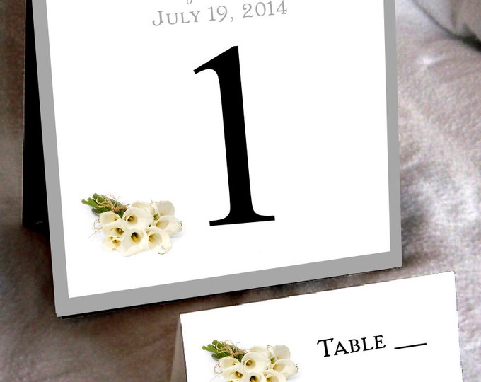 25 Calla Lily Table Numbers and 250 place settings