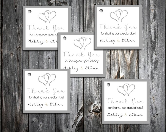 50 Hearts Favor Tags.  Wedding favors