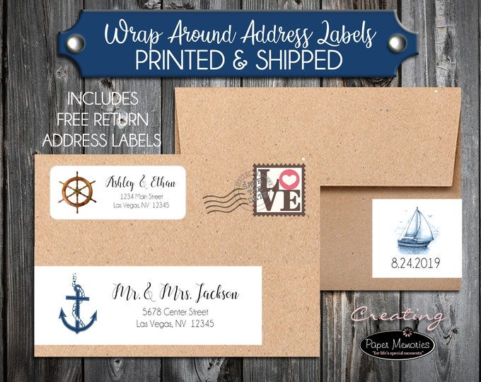 100 Printed Wrap Around Address Labels - Nautical Anchor Beach- Printed - Personalized self stick labels