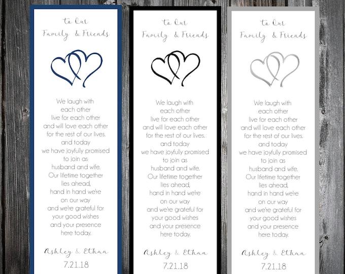 50 Hearts Wedding Bookmarks Favor