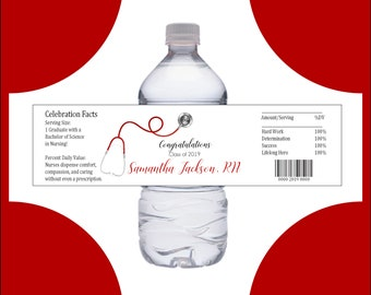 50 Nursing RN Graduation water bottle labels - Nurses - Price includes personalization and printing