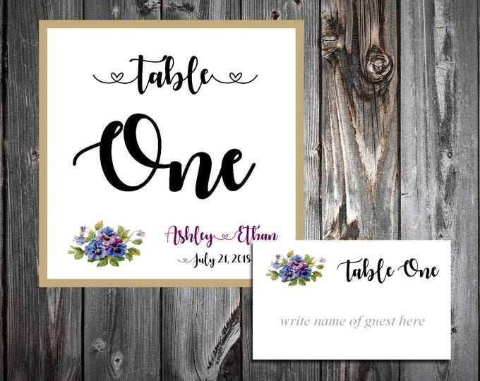 Pansies Flowers 25 Table Numbers and 250 place settings.  Personalized & printed Reception guests table decorations.