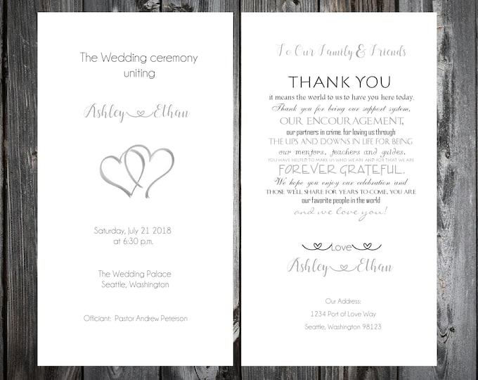 50 Wedding Programs - Double Hearts - Printed - Personalized