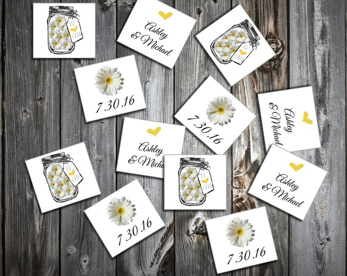 Mason Jar with Daisies Wedding Confetti Personalized table decor