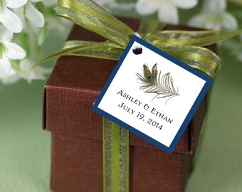 30 Peacock Feathers Favor Tags.  Wedding favors.
