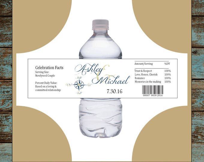 Nautical Compass Anchor 50 water bottle labels - Wedding favors