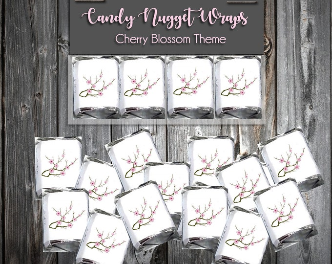 100 Candy Chocolate Wraps - Pink Cherry Blossoms - Wedding Favors