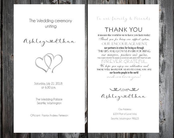 50 Hearts Wedding Ceremony Programs