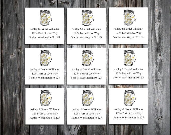 100 Mason Jar with Daisies Wedding Address Labels. Personalized self stick label