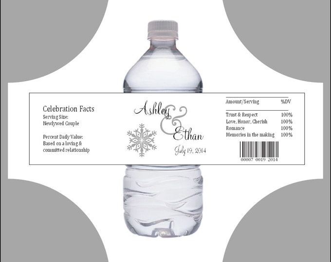 50 Snowflake water bottle labels - Wedding favors